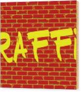 Graffiti Red Wall Wood Print
