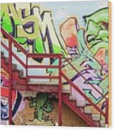 Graffiti Steps Wood Print