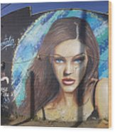 Graffiti Street Art Mural Around Melrose Avenue In Los Angeles, California  Wood Print