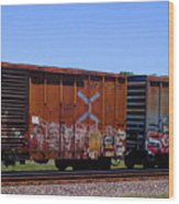 Graffiti Train With Billboard Wood Print