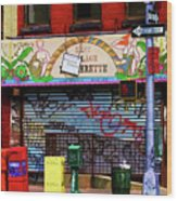 Graffiti Village Store Nyc Greenwich  Wood Print