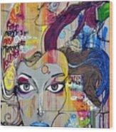 Graffiti Woman Face Wood Print