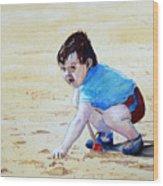 Graham On The Sand Wood Print