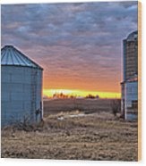 Grain Bin Sunset 2 Wood Print