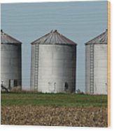 Grain Bins In A Row Wood Print
