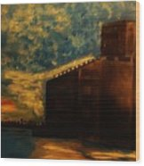 Grain Elevator On Lake Erie From A Photo By Nicole Bulger Wood Print by Marie Bulger