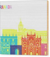 Granada Skyline Pop Wood Print