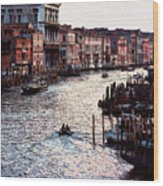 Grand Canal At Sunset Wood Print