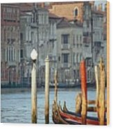 Grand Canal In Venice With Light On Pole Wood Print
