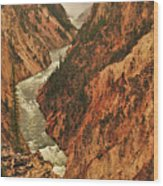 Grand Canyon Of The Yellowstone Vertical Panorama Wood Print