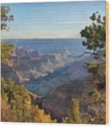 Grand Canyon View With Trees Wood Print