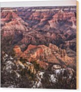 Grand Canyon Winter Sunrise Landscape At Yaki Point Wood Print