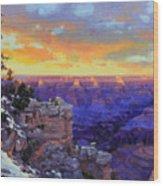 Grand Canyon Winter Sunset Wood Print by Gary Kim