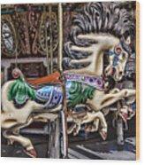 Grand Carousel Hourse Wood Print