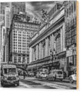 Grand Central At 42nd St - Mono Wood Print