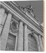 Grand Central Terminal - Chrysler Building Bw Wood Print