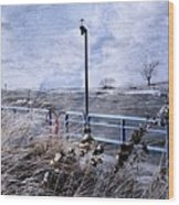 Grand Haven Channel With Winter Waves  Wood Print