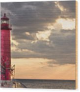 Grand Haven Lighthouse Hdr Wood Print