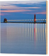 Grand Haven Pier Lights At Night Wood Print