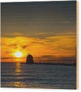Grand Haven Sunset Wood Print