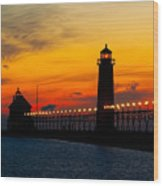 Grand Haven Sunset Wood Print