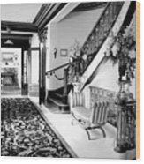 Grand Island Mansion Mosher Ranch 7 B And W Wood Print
