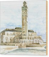 Grand Mosque Hassan II  Front Side Wood Print