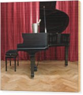 Grand Piano With A Champagne Cooler Wood Print