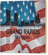 Grand Rapids Mi American Flag Squared Wood Print