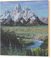 Grand Teton And Snake River Wood Print