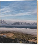Grand Teton Mountain Range Wood Print