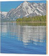 Grand Teton Mountain Reflection On Jackson Lake Wood Print
