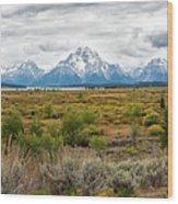 Grand Teton Mountains Panorama Wood Print