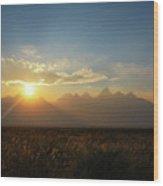 Grand Teton Open Plains Sunset Wood Print
