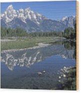 Grand Teton Reflection At Schwabacher Landing Wood Print