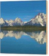 Grand Teton Reflection Wood Texture Wood Print