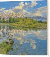 Grand Teton Riverside Morning Reflection Wood Print