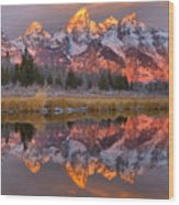 Grand Teton Snake River Sunrise Reflections Wood Print