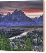 Grand Teton Sunset Wood Print