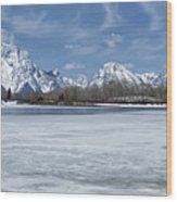 Grand Tetons And Snake River From Oxbow Bend 16-9 Wood Print