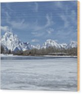 Grand Tetons And Snake River From Oxbow Bend Wood Print