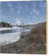 Grand Tetons From Oxbow Bend At A Distance Wood Print