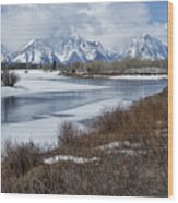 Grand Tetons From Oxbow Bend Wood Print