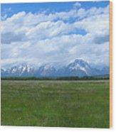 Grand Tetons Meadow Panarama Wood Print