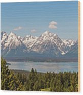 Grand Tetons Over Jackson Lake Panorama Wood Print