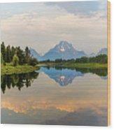 Grand Teton's Reflection Wood Print