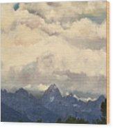 Grand Tetons  Sky Wood Print by Suzette Kallen