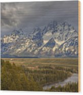 Grand Tetons Snake River Wood Print by Charles Warren