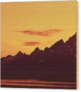 Grand Tetons Sunset Wood Print
