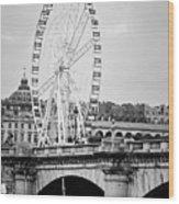Grande Roue In Paris - Black And White Wood Print